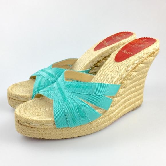 898fbcccfacf Christian Louboutin Shoes - Christian Louboutin Blue Espadrille Wedges 7.5